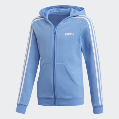 Girls Training Blue 3-Stripes Hoodie