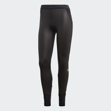 Women adidas by Stella McCartney Black Run Long Shiny Tights