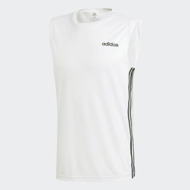 Men Studio White Design 2 Move 3-Stripes Tank Top