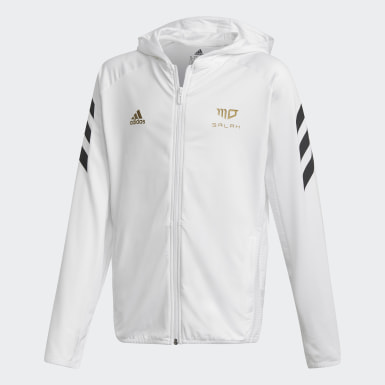 Boys Training White Salah Football-Inspired Full-Zip Hoodie