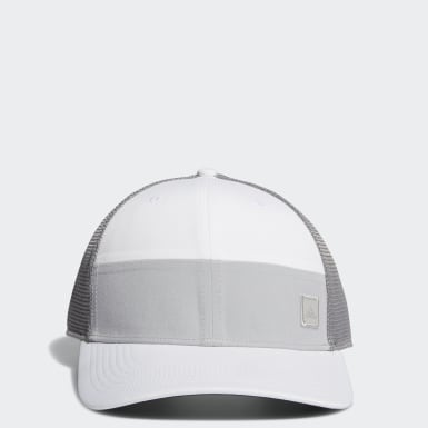 Men Golf White Blocked Trucker Hat