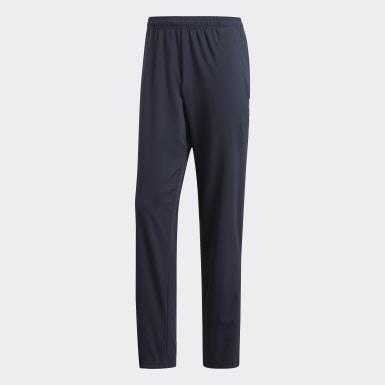 Men Training Blue Essentials Plain Open Hem Stanford Trousers