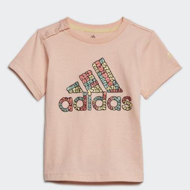 Dívky Trénink růžová Tričko Logo