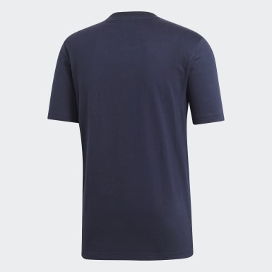 Mænd Athletics Blå Essentials Plain T-shirt
