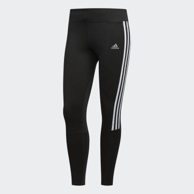 Women Running Black Running 3-Stripes Leggings