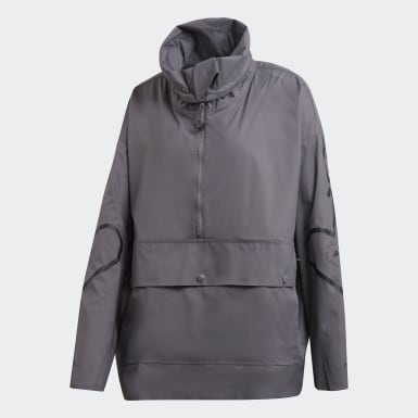 Women adidas by Stella McCartney Grey Half-Zip Mid Length Jacket
