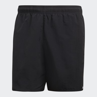 Men Water Sports Black Solid Swim Shorts