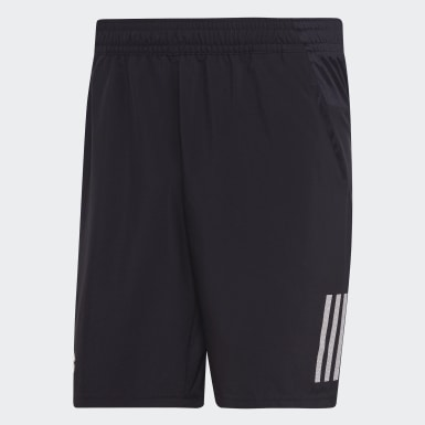 Heren Padel Tennis Zwart Club 3-Stripes 9-Inch Short