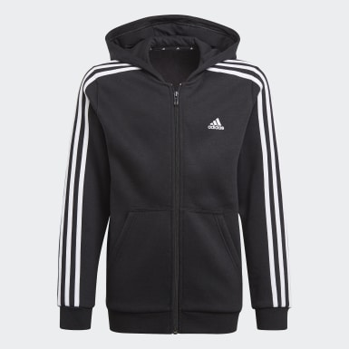 Boys Sport Inspired Black Essentials 3-Stripes Hoodie