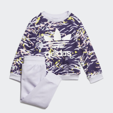 Girls Originals Purple Crew Set