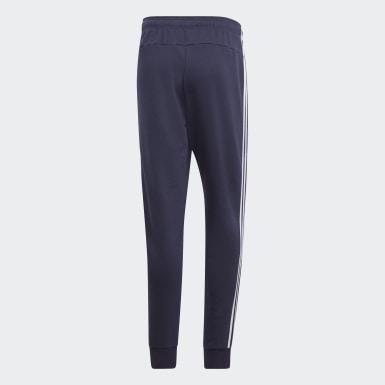 Muži Athletics modrá Kalhoty Essentials 3-Stripes Tapered Cuffed