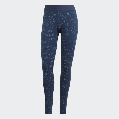 Women Athletics Blue adidas Sportswear Allover Print Leggings