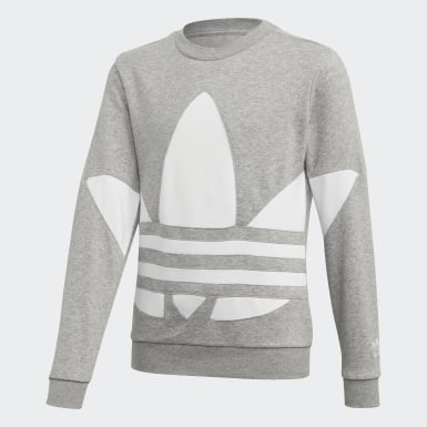 Kids Originals Grey Big Trefoil Crew Sweatshirt