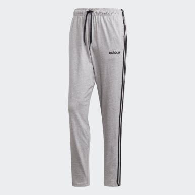 Men Lifestyle Grey Essentials 3-Stripes Tapered Open Hem Pants