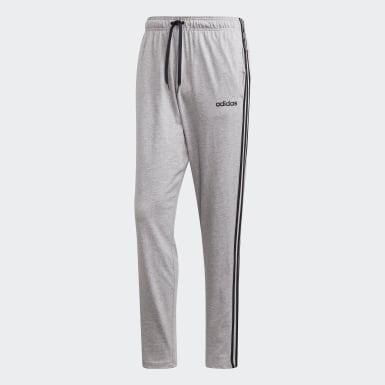 Men Training Grey Essentials 3-Stripes Tapered Open Hem Joggers