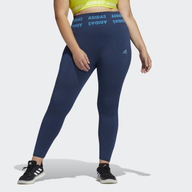 Women Running Blue Training Aeroknit 7/8 High-Rise Tights (Plus Size)
