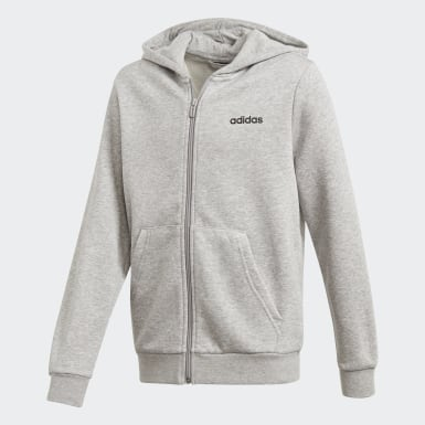 Boys Training Grey Essentials Linear Hoodie