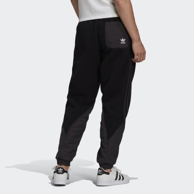 Men Originals Black Big Trefoil Polar Fleece Mix Track Pants