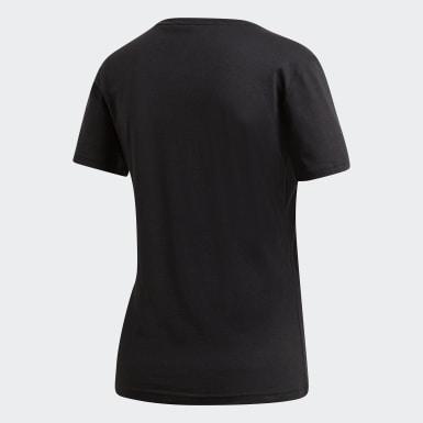 Camiseta Essentials Foil Badge of Sport Negro Mujer Training