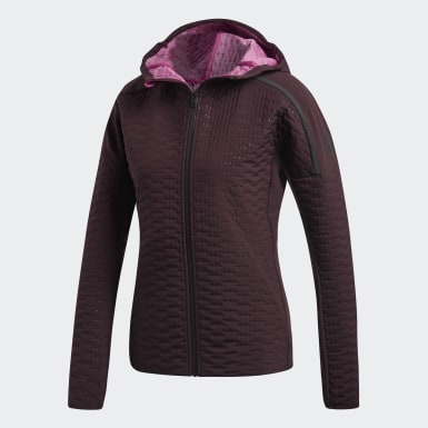 Women Running Burgundy adidas Z.N.E. Winter Run Jacket