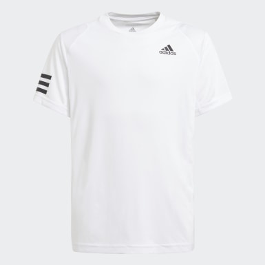 Youth 8-16 Years Tennis White Club Tennis 3-Stripes T-Shirt