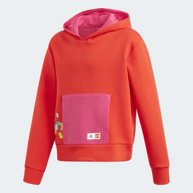 Sweat-shirt à capuche LEGO® Bricks Boxy Rouge Filles Training