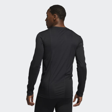 Men Training Black Techfit Compression Long Sleeve Tee