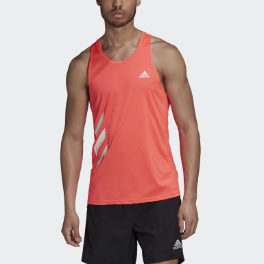 Men Running Pink Own the Run 3-Stripes PB Singlet