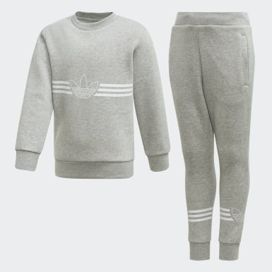 Kids 4-8 Years Originals Grey Outline Crewneck Set