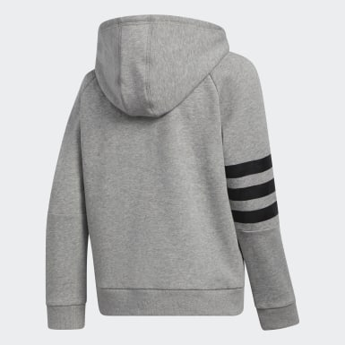 Children Training Grey 3-Stripes Hooded Jacket