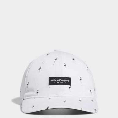 ผู้ชาย กอล์ฟ สีขาว หมวกกอล์ฟพิมพ์ลายนกฟลามิงโก้