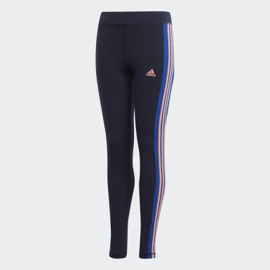 Girls Athletics Blue 3-Stripes Tights