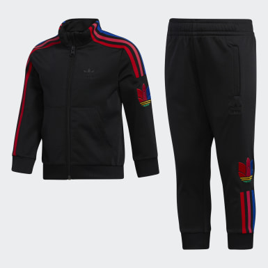 Boys Originals Black Adicolor 3D Trefoil Track Suit