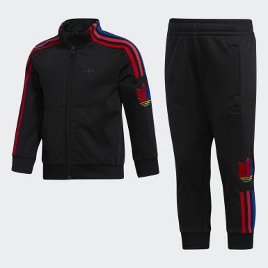 Jungen Originals Adicolor 3D Trefoil Trainingsanzug Schwarz