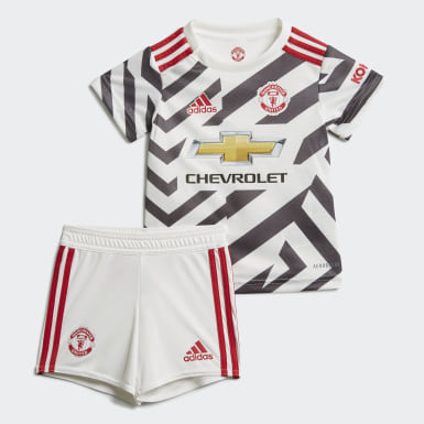 Kids Football White Manchester United 20/21 Third Baby Kit