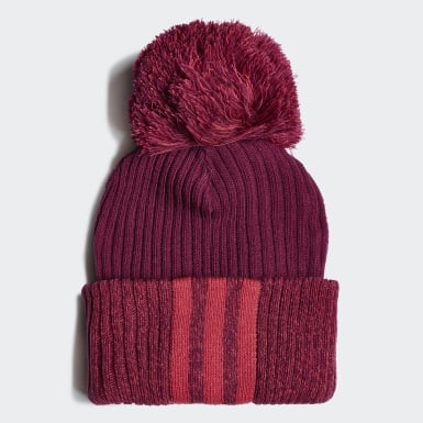 Girls Winter Sports Burgundy 3-Stripes Beanie