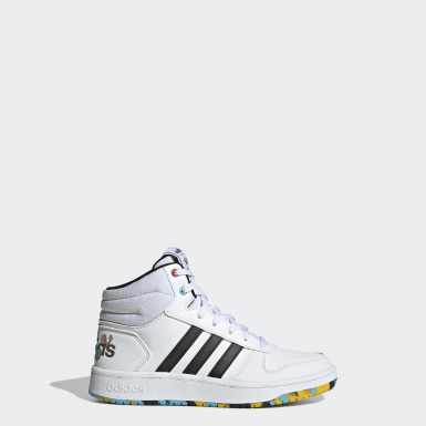 Kids Sport Inspired White Hoops Mid 2.0 Shoes