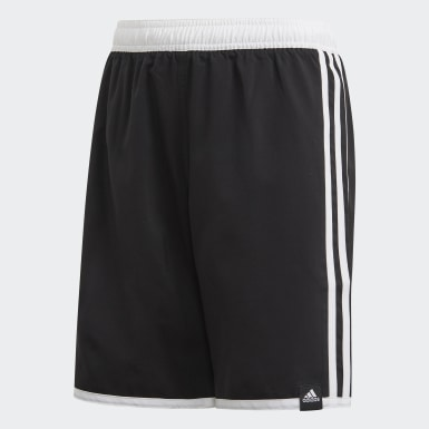 Boys Swimming Black 3-Stripes Swim Shorts