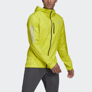 Heren Hardlopen geel Own the Run Hooded Windjack