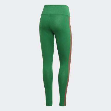 Women's Originals Green Adicolor 3D Trefoil Tights
