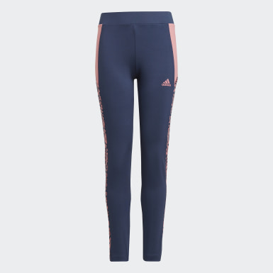 Youth 8-16 Years Athletics Blue adidas Designed To Move Leopard Leggings