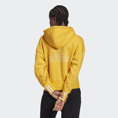 Women Athletics Yellow Big Badge of Sport Full-Zip Hoodie