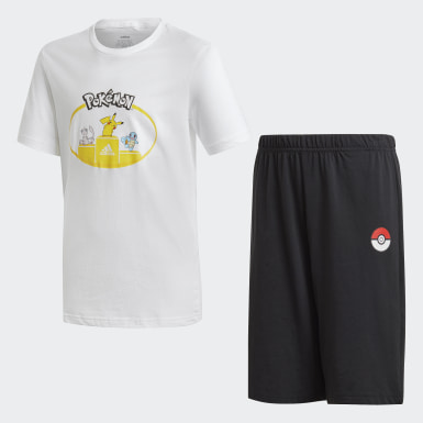 Boys Sport Inspired White Pokémon Short Sleeve Set