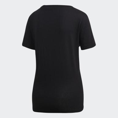 ผู้หญิง ไลฟ์สไตล์ สีดำ เสื้อยืด Essentials Linear
