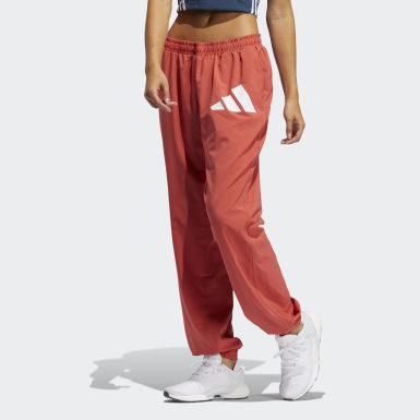 Women Training Red Woven Badge of Sport Pants