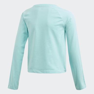 Girls Originals Blå 3-Stripes Cropped T-shirt