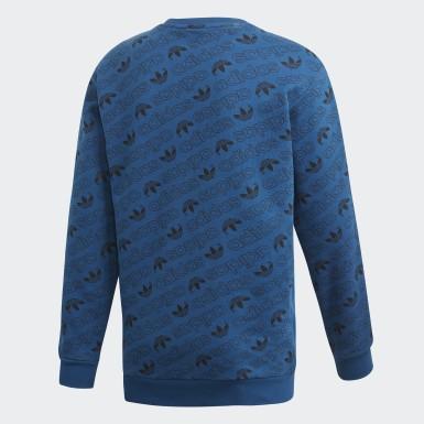 Men Originals Blue Monogram Crewneck Sweatshirt