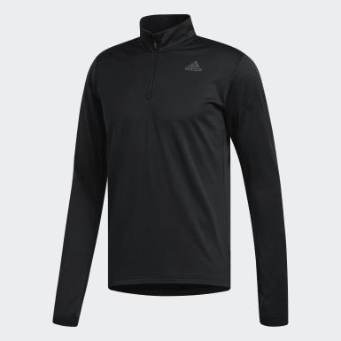 Men Running Black Response Climawarm 1/4 Zip Sweatshirt
