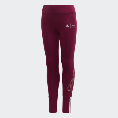 Girls Sport Inspired Burgundy Disney Tights