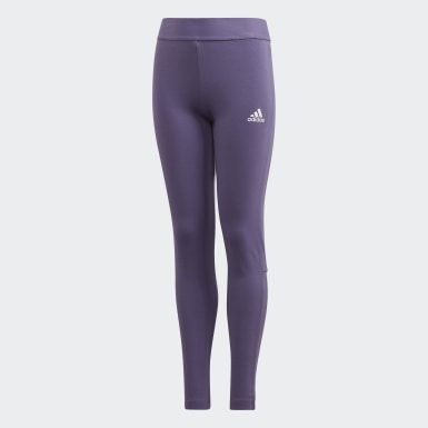 Dievčatá Joga fialová Legíny Must Haves 3-Stripes